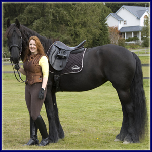 Christina and her Friesian mare