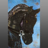 Friesian Dressage horse handpainted art quilt