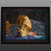 art quilt portrait- boy & golden retriever