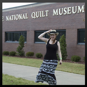 Christina visiting the National Quilt Museum when her work showed there. © 2003-2018 · Christina Fairley Erickson