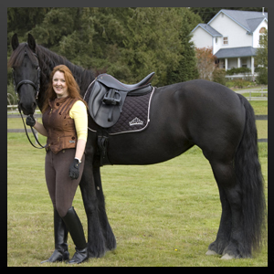 Christina Marie Erickson with her Friesian mare. © 2003-2018 · Christina Fairley Erickson