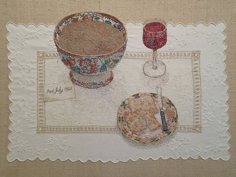 """""""A Cumbrian Birthday"""" 1997/8 embroidery by Audrey Walker uses a tray cloth from Audrey's childhood."""