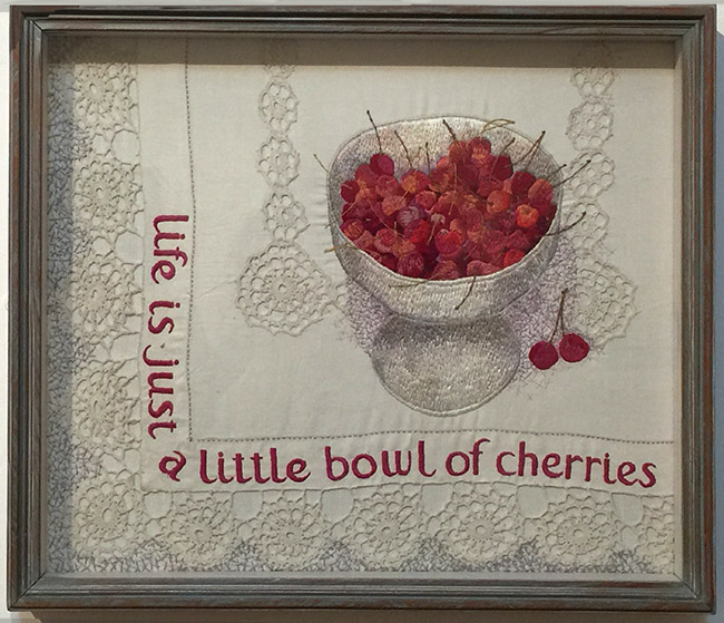 """""""Life is Just a Little Bowl of Cherries"""" by Audrey Walker 1984."""