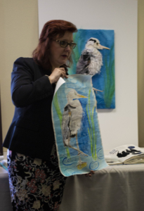 Christina describes how her 3D Stumpwork embroidery process includes making a painting of the design.