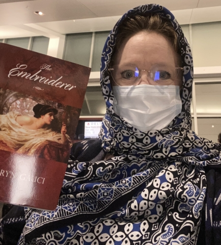 """Christina on her way to Istanbul with Kathryn Gauci's novel """"The Embroiderer"""""""