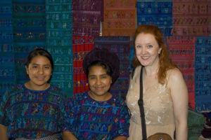 Christina Fairley Erickson with weavers from Lake Atitlan, Guatemala.