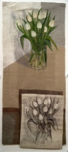 """The White Tulips"" by Audrey Walker 2012. On loan from the Embroiderers' Guild UK"