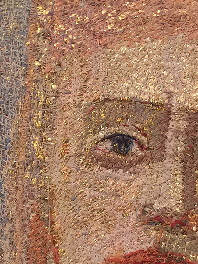 "Detail of Goldwork in ""Gaze IV"" by Audrey Walker 1999."