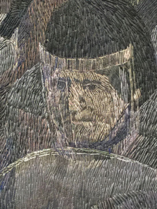 "Detail of knight's face with helmet and shield from ""Observed Incident""."