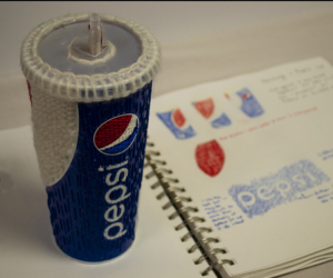 """It's NOT the Real Thing"" - darned Pepsi cup and Christina Fairley Erickson's sketchbook design"