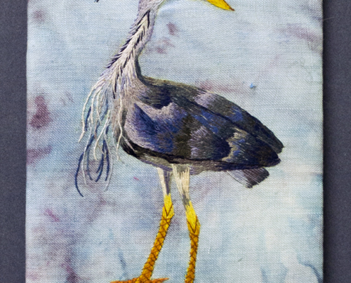 Cheeky Blue Heron - detail - by Christina Fairley Erickson