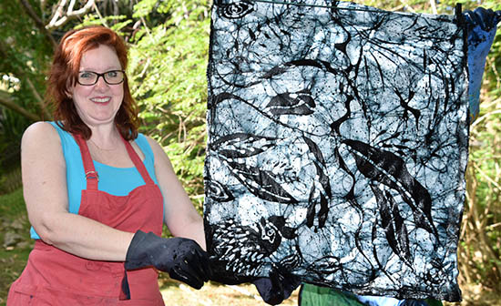 Batik practice piece on the line to dry with Christina Erickson